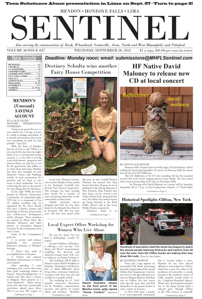 September 20, 2018 Issue if <em>The Sentinel</em>