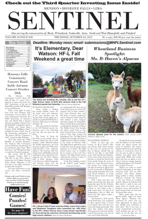 October 18, 2018 Issue of <em>The Sentinel</em>