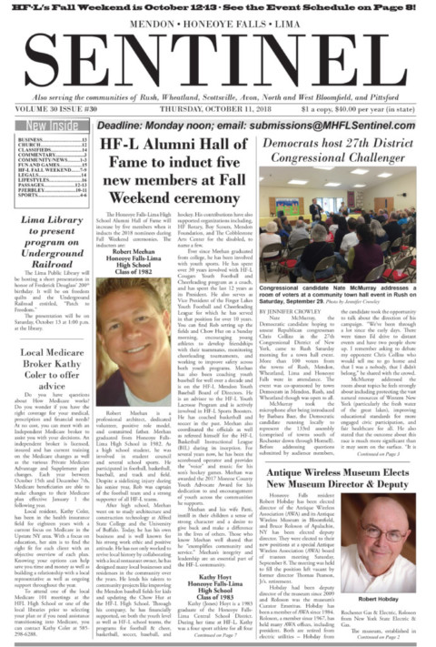 October 11, 2018 Issue of <em>The Sentinel</em>