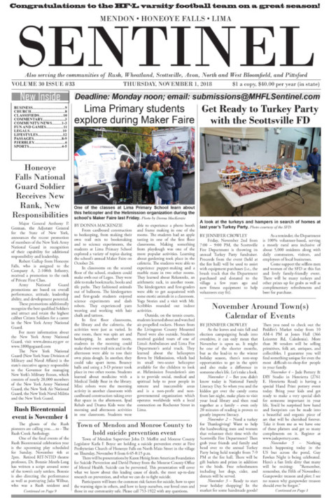 November 1, 2018 Issue of <em>The Sentinel</em>
