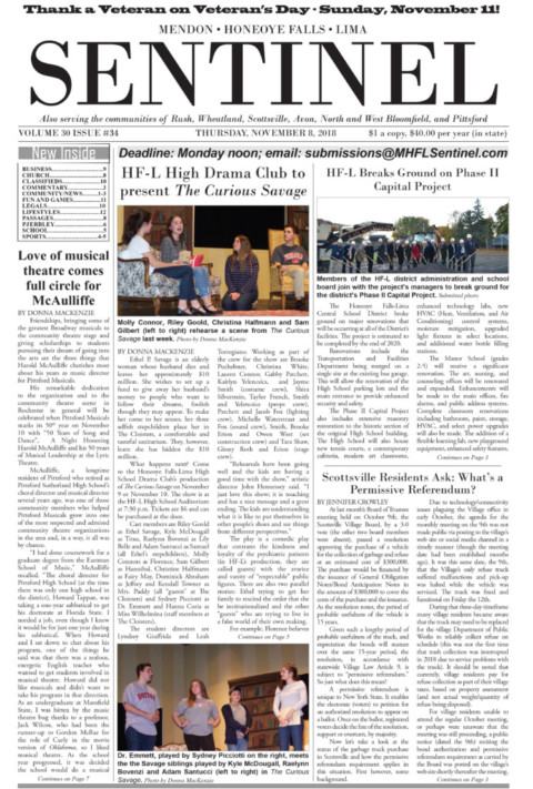 November 8, 2018 Issue of <em>The Sentinel</em>