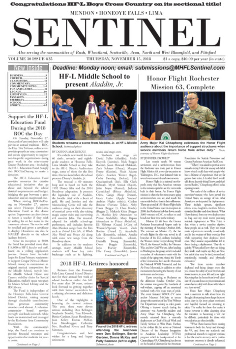November 15, 2018 Issue of <em>The Sentinel</em>
