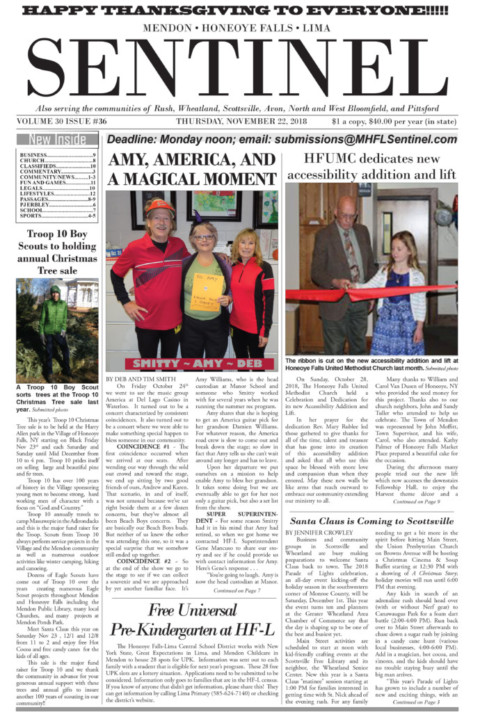 November 22, 2018 Issue of <em>The Sentinel</em>