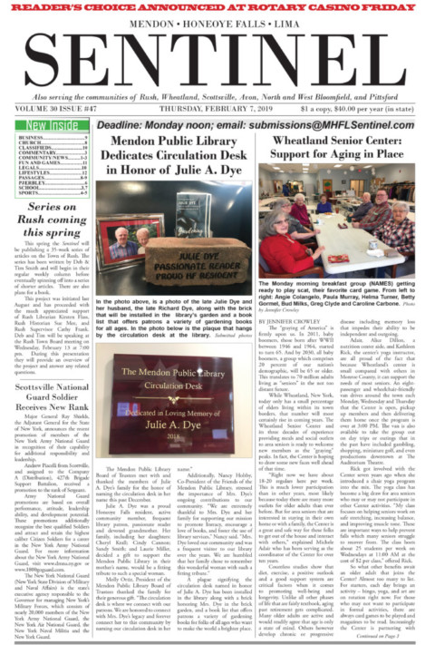 February 7, 2019 Issue of <em>The Sentinel</em>