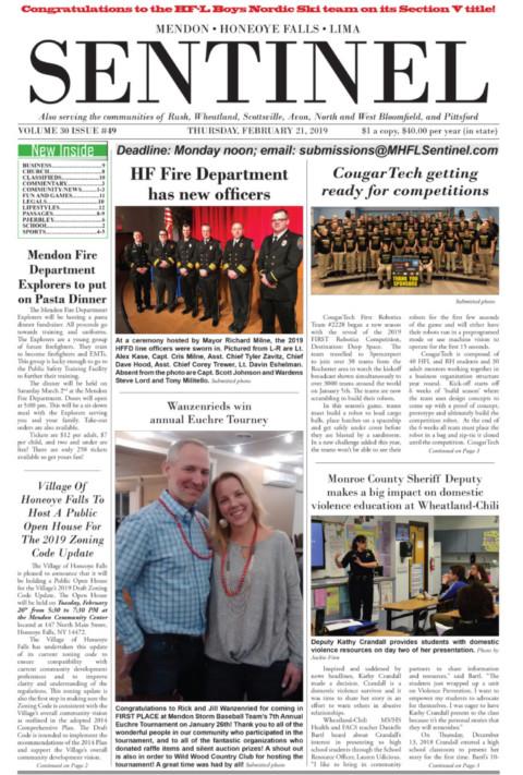 February 21, 2019 Issue of <em>The Sentinel</em>