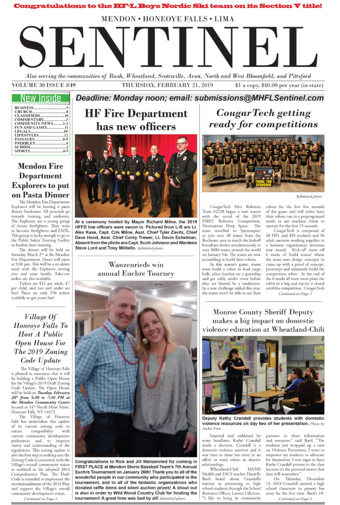 February 21, 2019 Issue of <em>The Sentinel</em>
