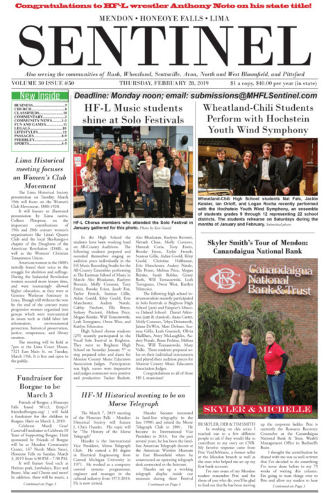 February 28, 2019 Issue of <em>The Sentinel</em>