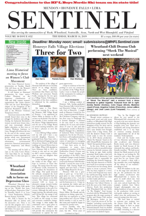 March 14, 2019 Issue of <em>The Sentinel</em>