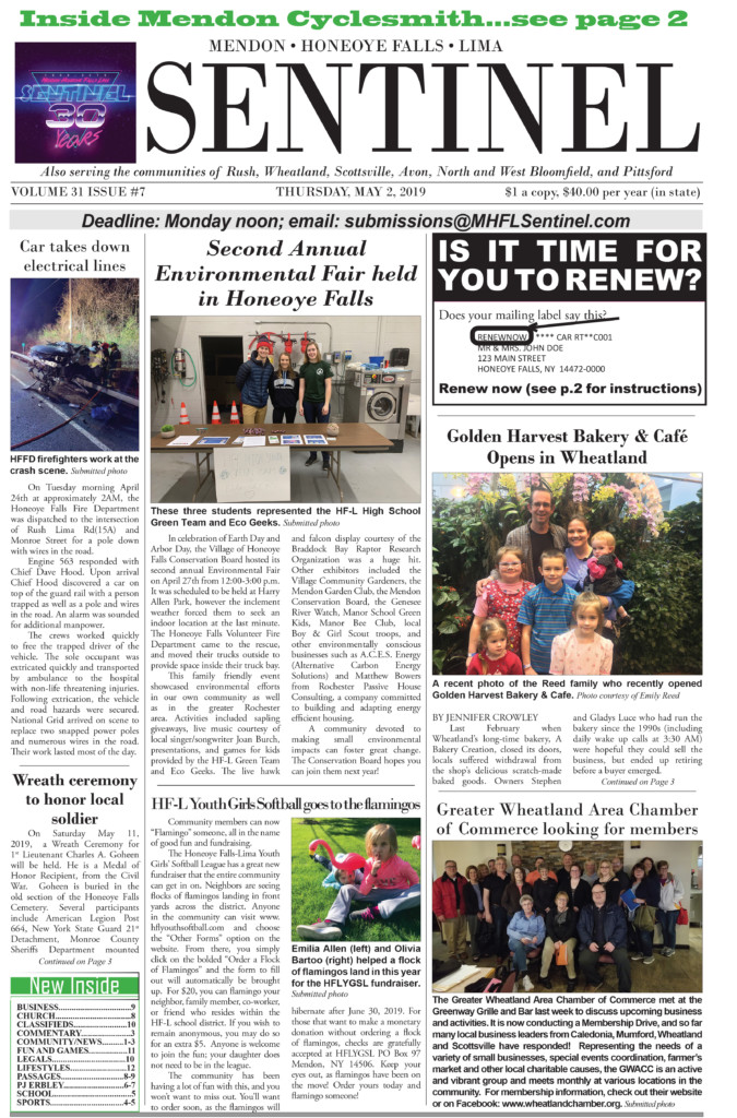 May 2, 2019 Issue of <em>The Sentinel</em>