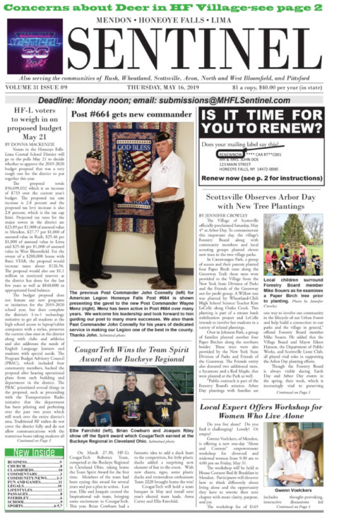 May 16, 2019 Issue of <em>The Sentinel</em>