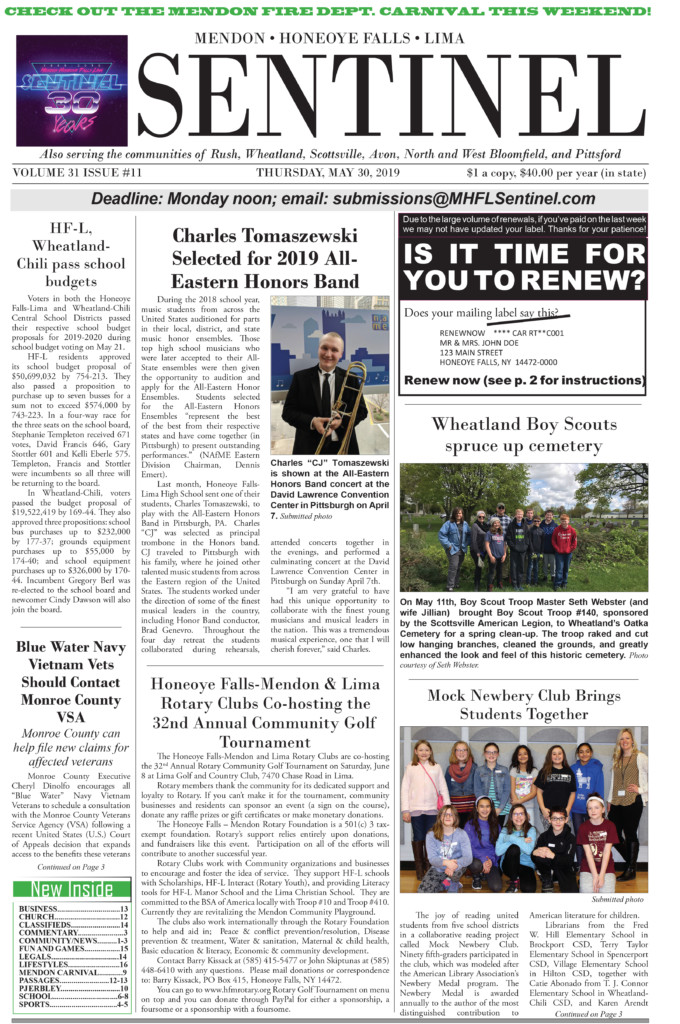 May 30, 2019 Issue of <em>The Sentinel</em>