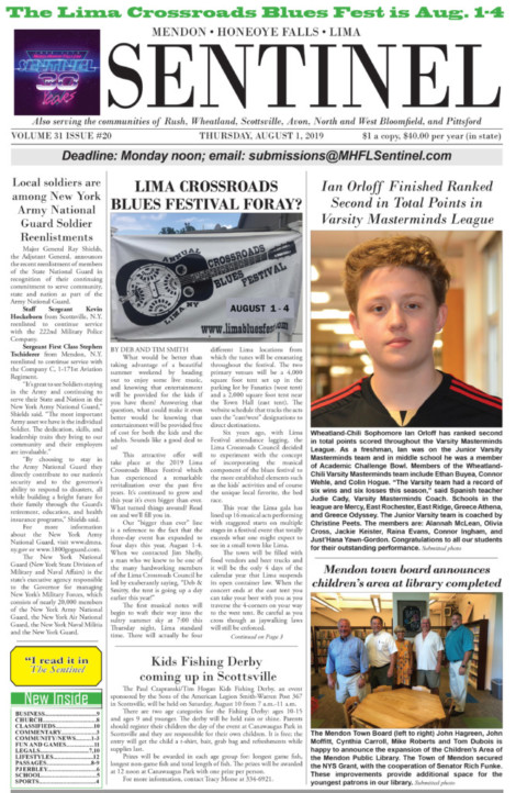 August 1, 2019 Issue of <em>The Sentinel</em>
