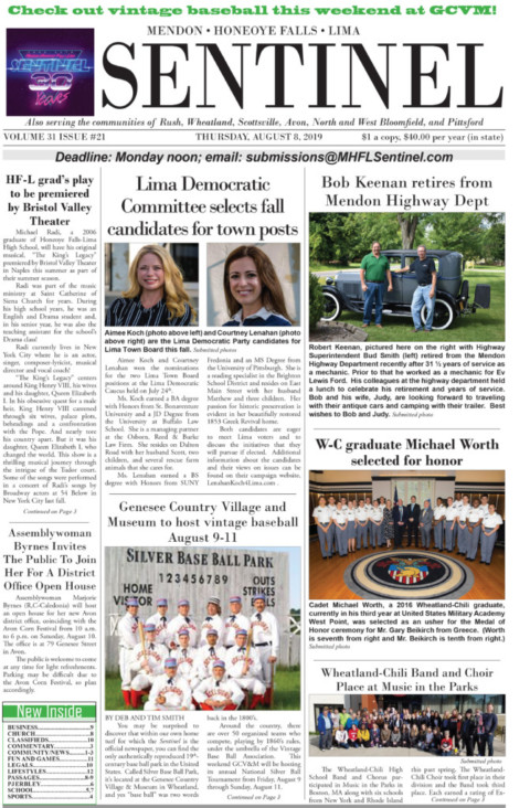August 8, 2019 Issue of <em>The Sentinel</em>