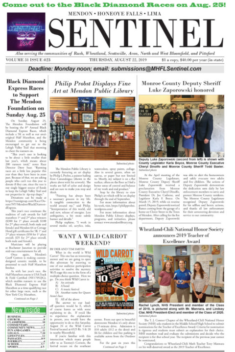 August 22, 2019 Issue of <em>The Sentinel</em>