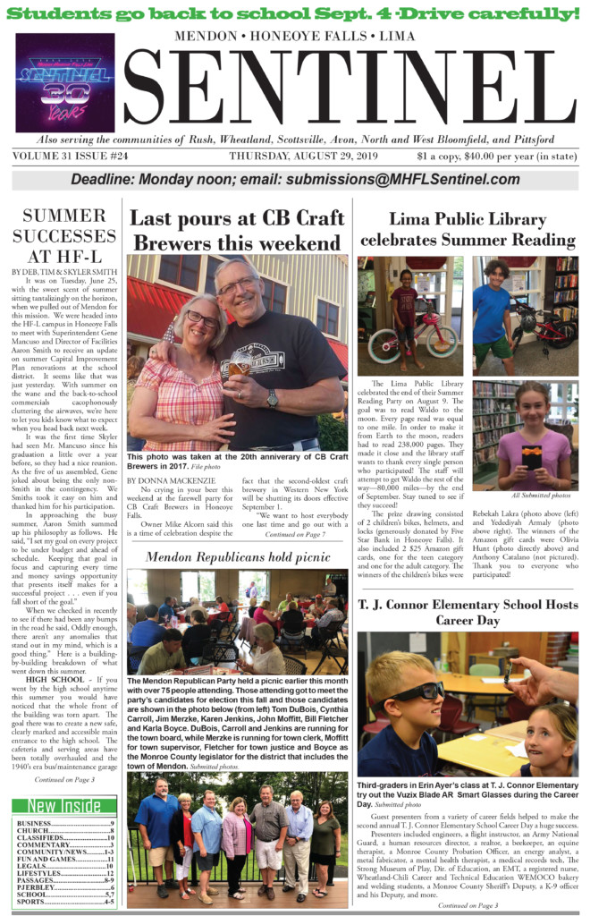 August 29, 2019 Issue of <em>The Sentinel</em>