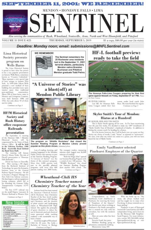September 5, 2019 Issue of <em>The Sentinel</em>