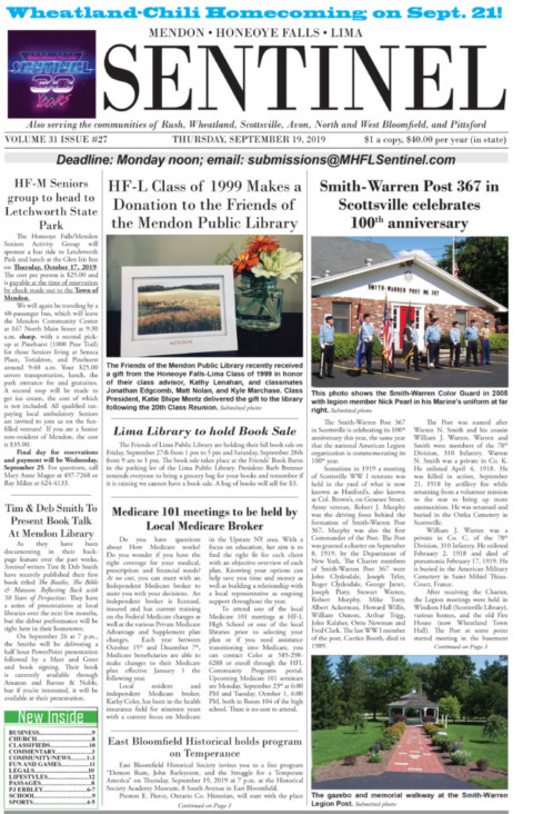 September 19, 2019 Issue of <em>The Sentinel</em>