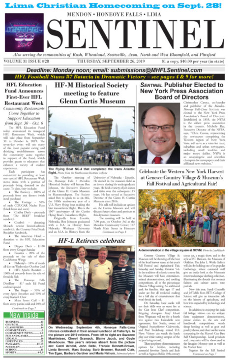 September 26, 2019 Issue of <em>The Sentinel</em>