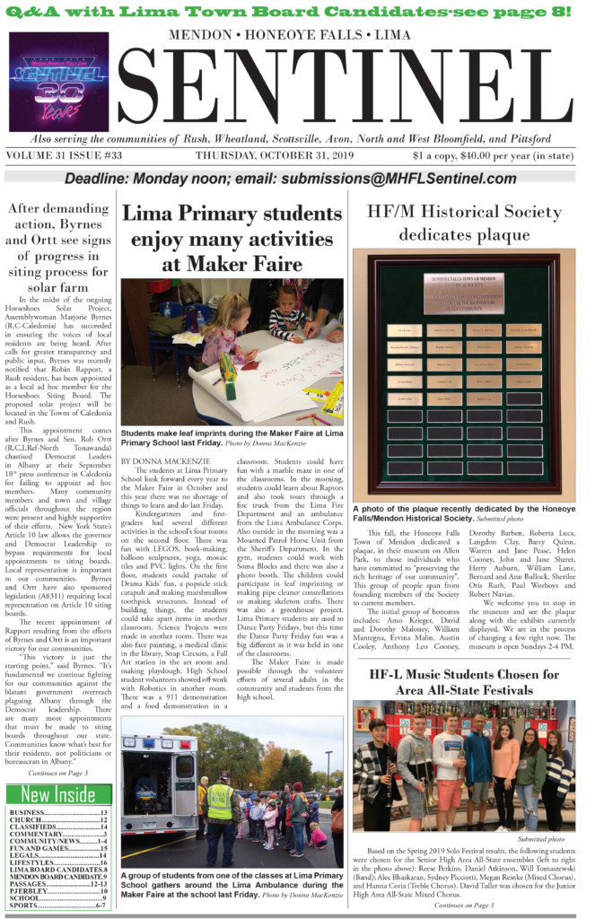 October 31, 2019 Issue of <em>The Sentinel</em>