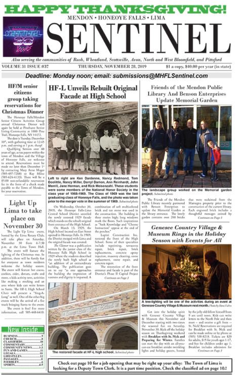 November 28, 2019 Issue of <em>The Sentinel</em>