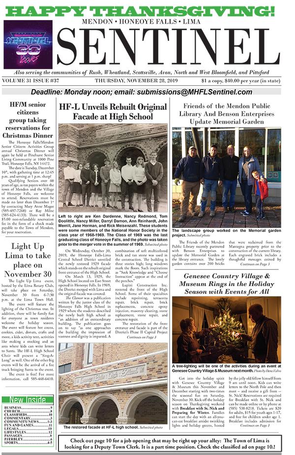 November 28, 2019 Issue of <em>The Sentinel</em>