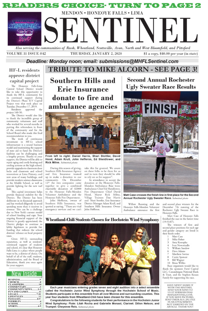 January 2, 2020 Issue of <em>The Sentinel</em>
