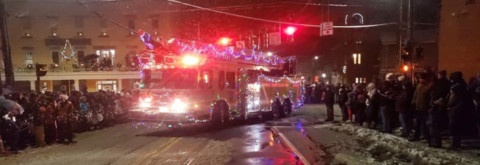 Snowy night greets attendees at HFFD's Parade of Lights