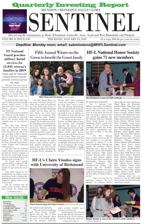 January 23, 2020 Issue of <em>The Sentinel</em>