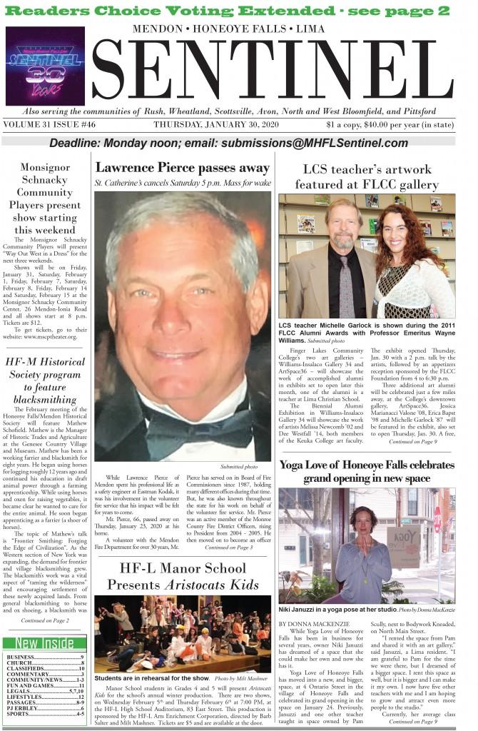 January 30, 2020 Issue of <em>The Sentinel</em>