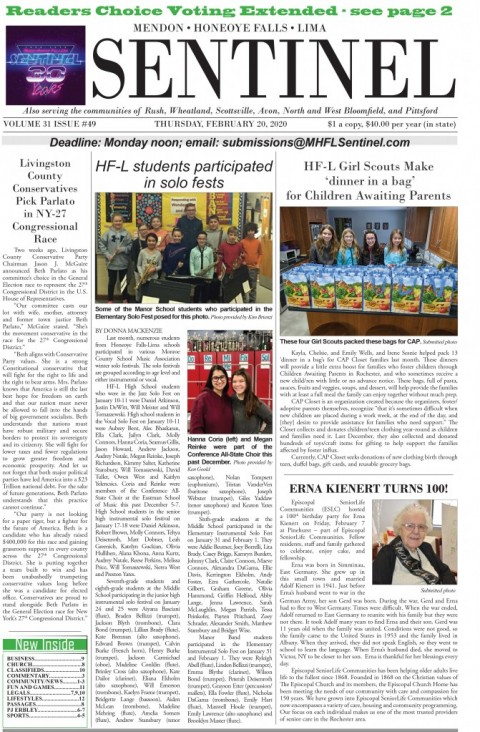 February 20, 2020 Issue of <em>The Sentinel</em>