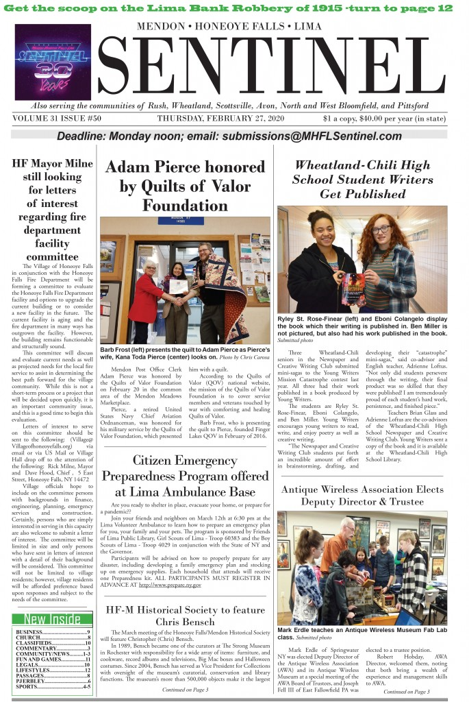 February 27, 2020 Issue of <em>The Sentinel</em>