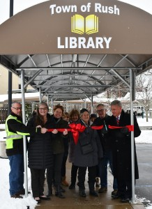 Rush Library awning offers protection from the weather