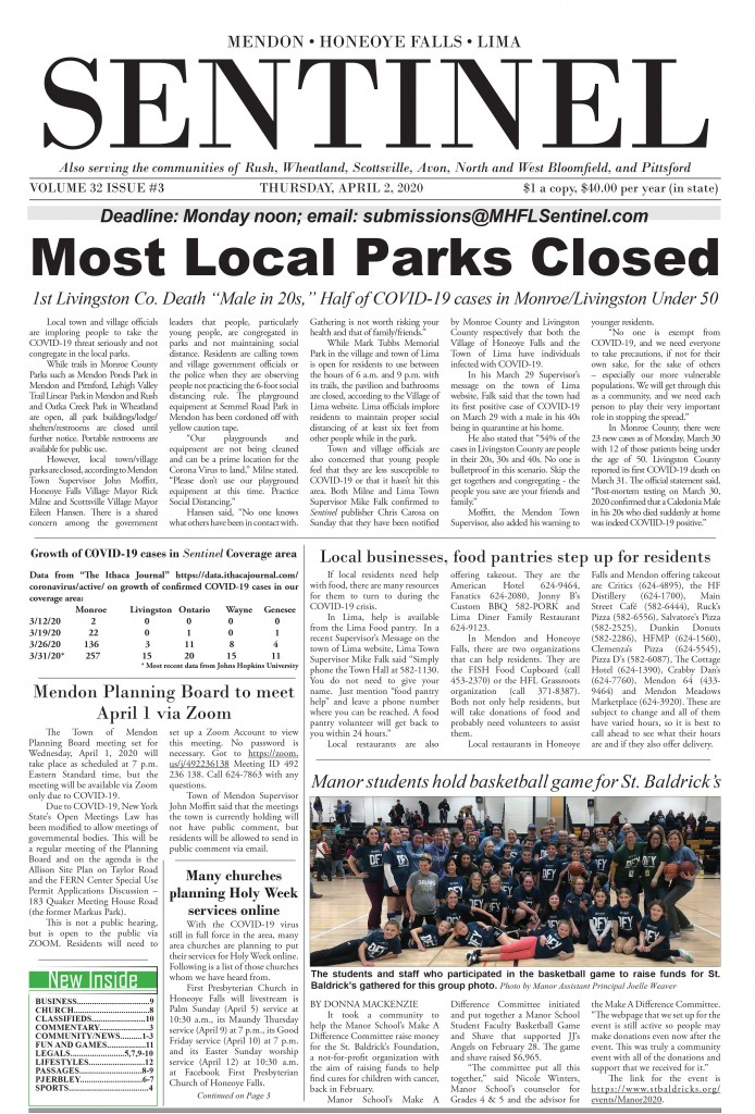 April 2, 2020 Issue of <em>The Sentinel</em>