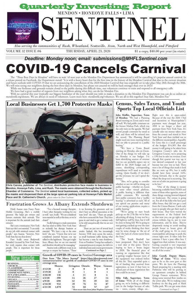 April 23, 2020 Issue of <em>The Sentinel</em>
