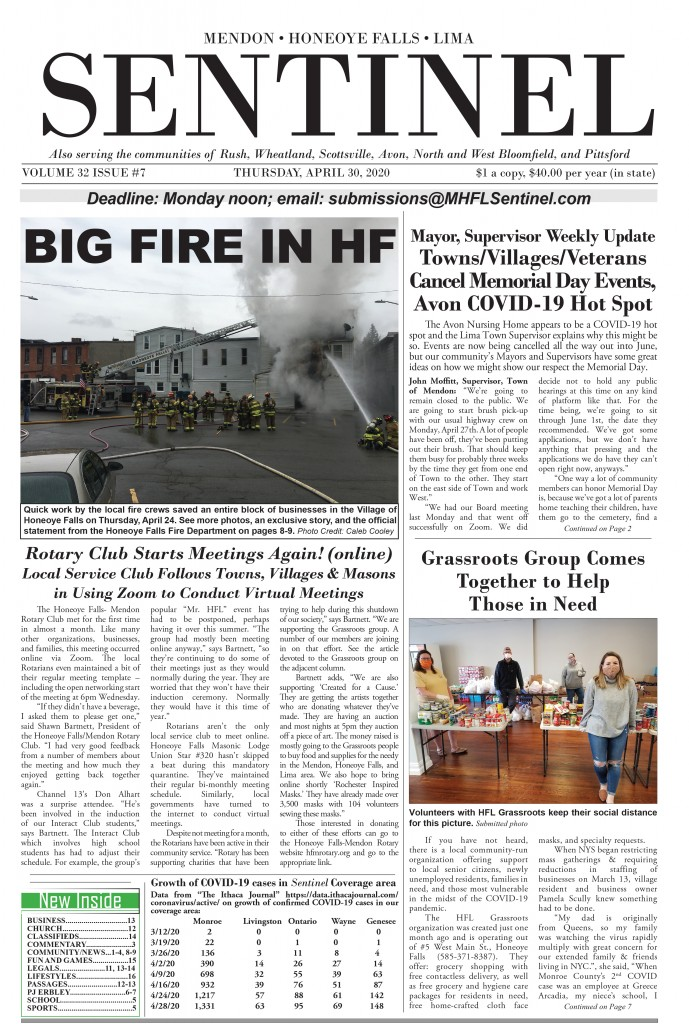 April 30, 2020 Issue of <em>The Sentinel</em>