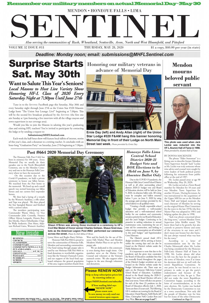 May 28, 2020 Issue of <em>The Sentinel</em>