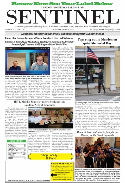 June 4, 2020 Issue of <em>The Sentinel</em>