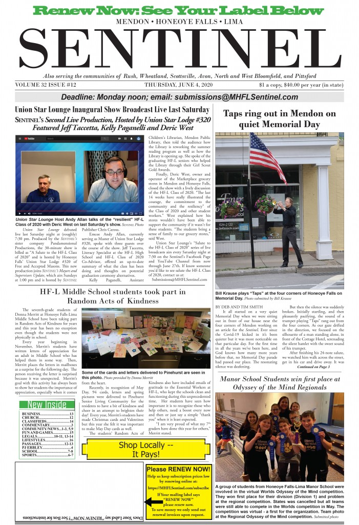 June 4, 2020 Issue of <em>The Sentinel</em>