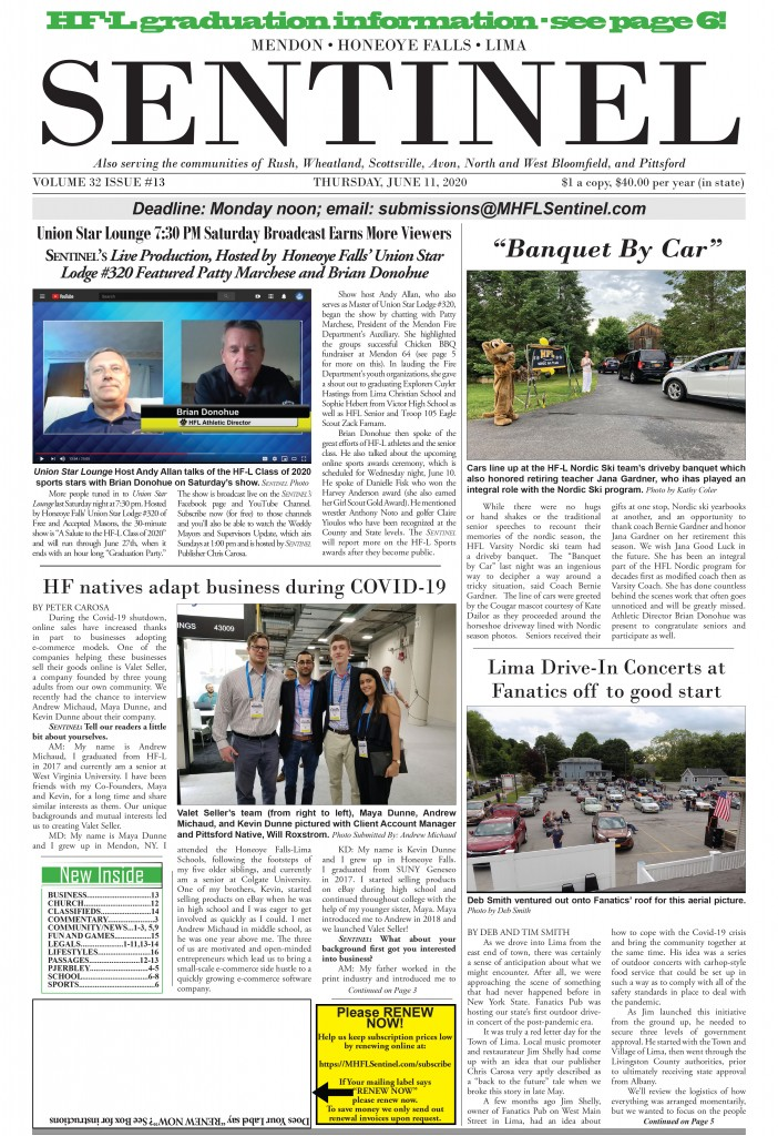 June 11, 2020 Issue of <em>The Sentinel</em>