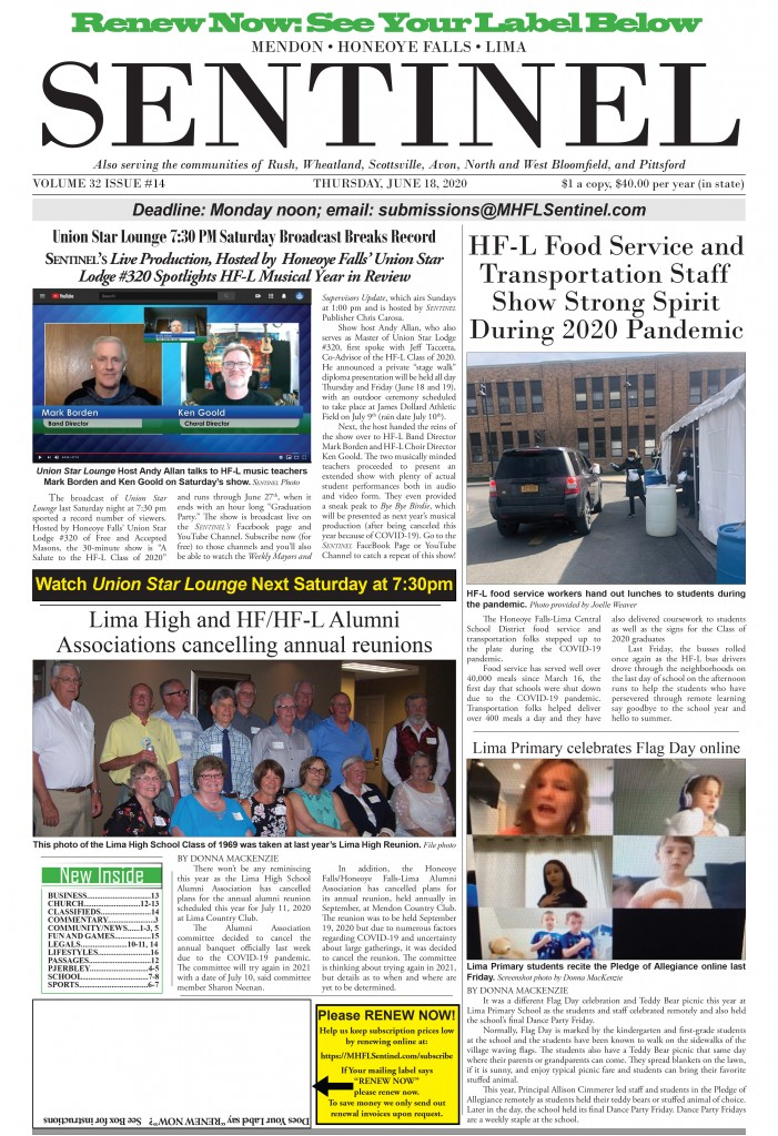 June 18, 2020 Issue of <em>The Sentinel</em>