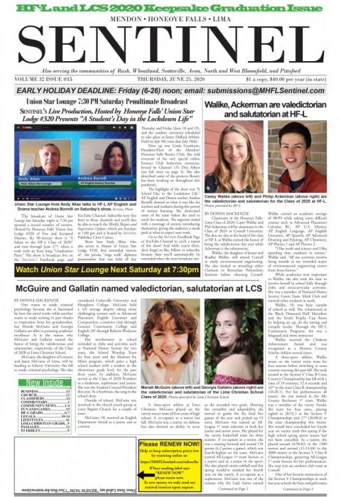 June 25, 2020 Issue of <em>The Sentinel</em>