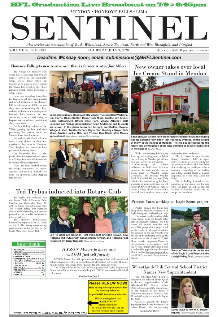 July 9, 2020 Issue of <em>The Sentinel</em>
