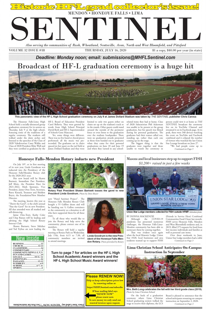 July 16, 2020 Issue of <em>The Sentinel</em>