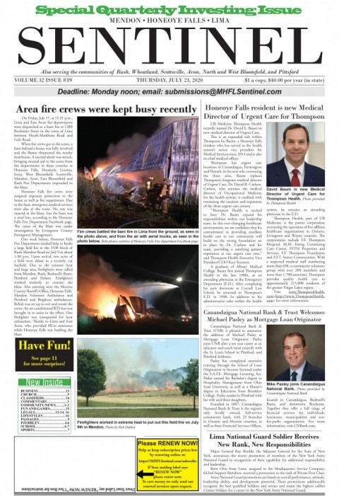 July 23, 2020 Issue of <em>The Sentinel</em>
