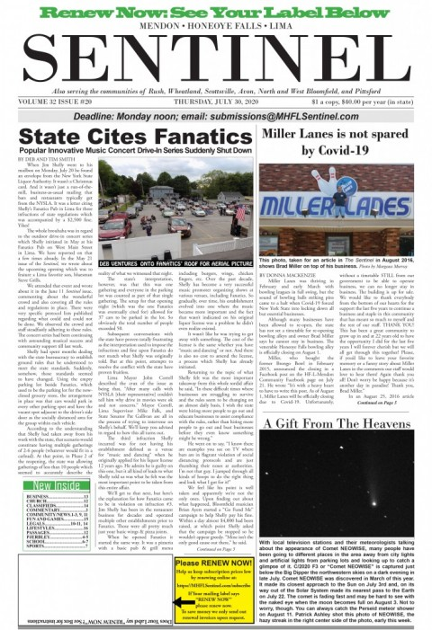 July 30, 2020 Issue of <em>The Sentinel</em>