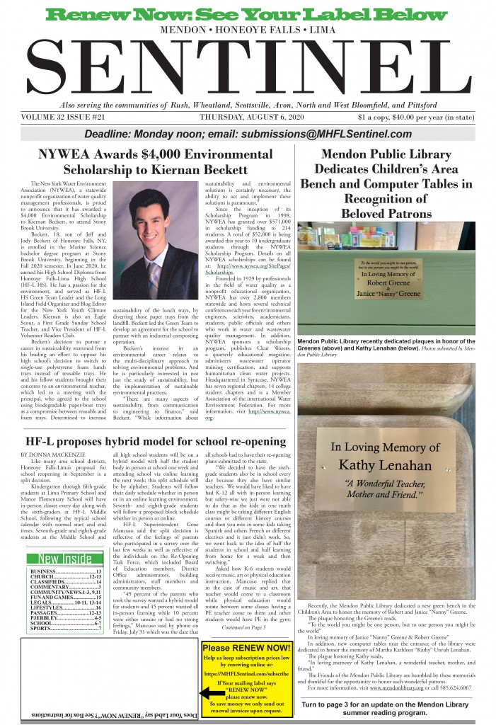 August 6, 2020 Issue of <em>The Sentinel</em>