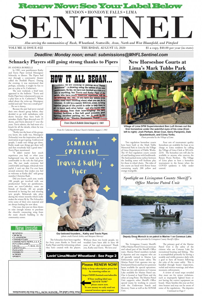 August 13, 2020 Issue of <em>The Sentinel</em>