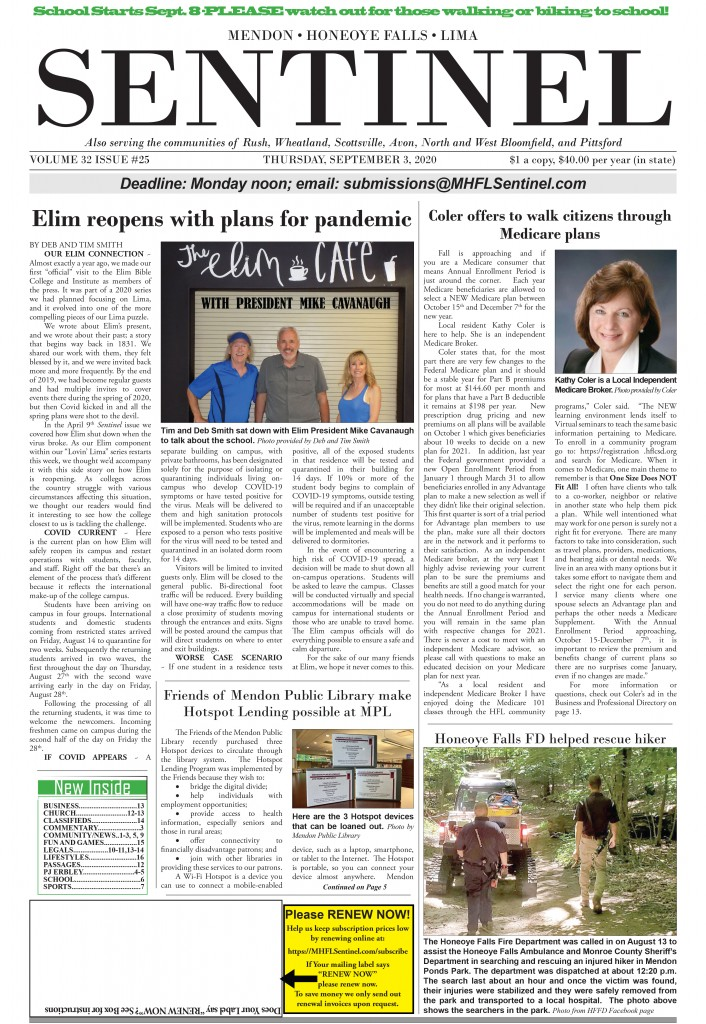 September 3, 2020 Issue of <em>The Sentinel</em>