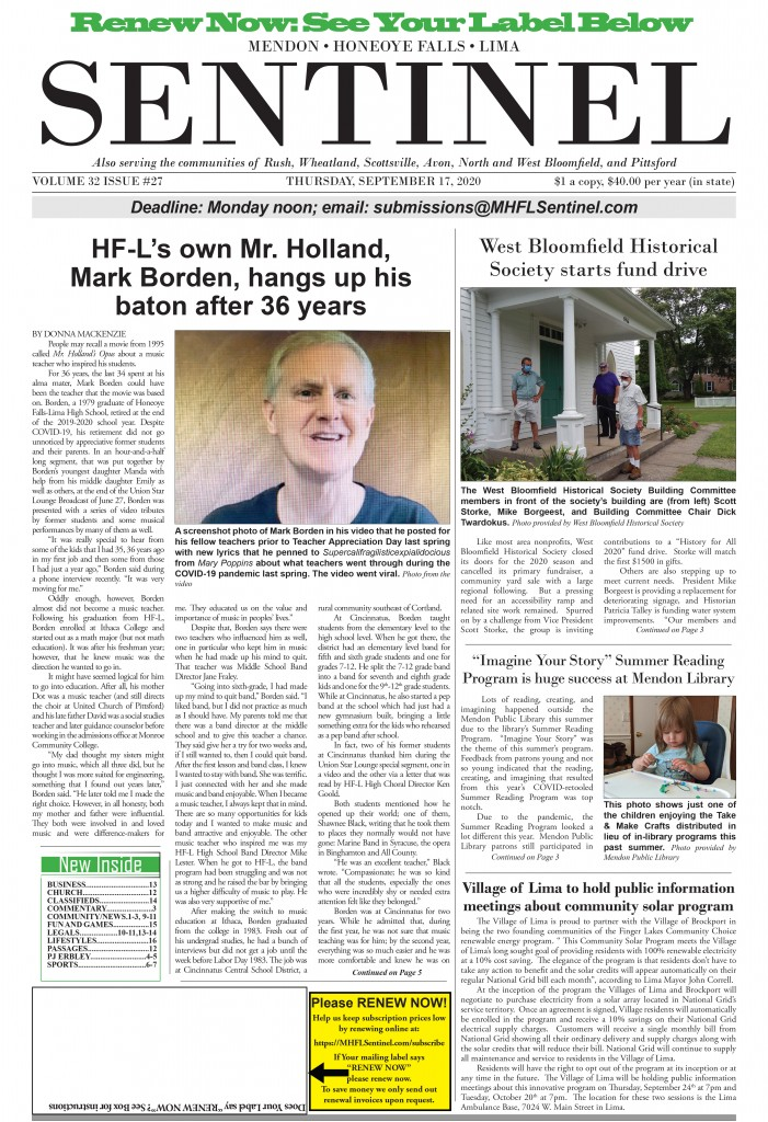 September 17, 2020 Issue of <em>The Sentinel</em>
