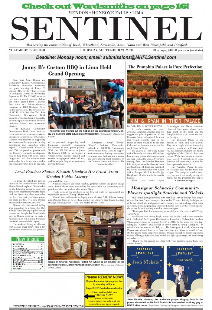 September 24, 2020 Issue of <em>The Sentinel</em>